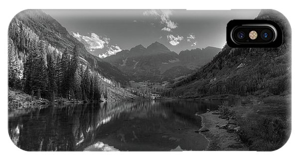Bell iPhone Case - Maroon Bells Colorado B W by Steve Gadomski