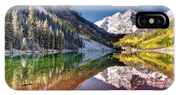 Olena Art Sunrise At Maroon Bells Lake Autumn Aspen Trees In The Rocky Mountains Near Aspen Colorado IPhone Case