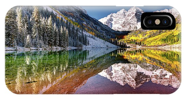IPhone Case featuring the photograph Olena Art Sunrise At Maroon Bells Lake Autumn Aspen Trees In The Rocky Mountains Near Aspen Colorado by OLena Art Brand