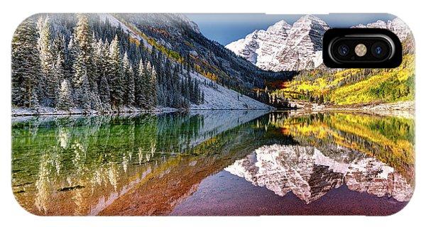 Olena Art Sunrise At Maroon Bells Lake Autumn Aspen Trees In The Rocky Mountains Near Aspen Colorado IPhone Case