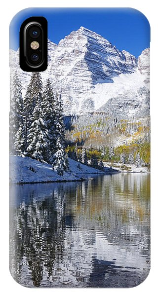 Cold Day iPhone Case - Maroon Lake And Bells 2 by Ron Dahlquist - Printscapes