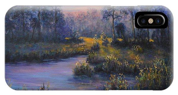 Marsh Sunset Nature Wetland Trees Print Of Panting IPhone Case