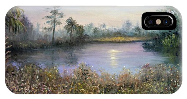 Marsh Wetland Moon Landscape Painting IPhone Case