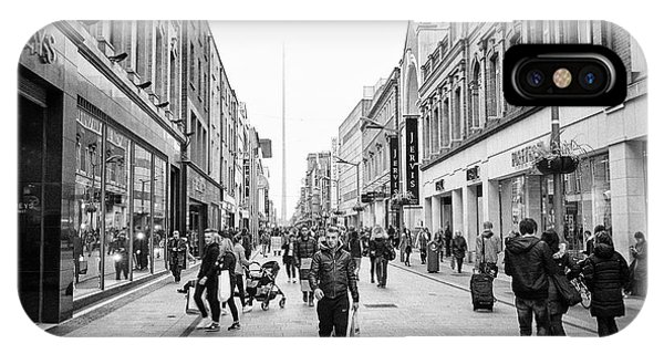 Jervis iPhone Case - mary street and jervis shopping centre pedestrian shopping area dublin city centre Ireland by Joe Fox