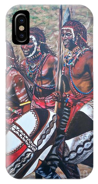 Blaa Kattproduksjoner       Masaai Warriors IPhone Case