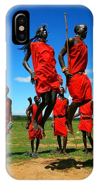 Masai Warrior Dancing Traditional Dance IPhone Case