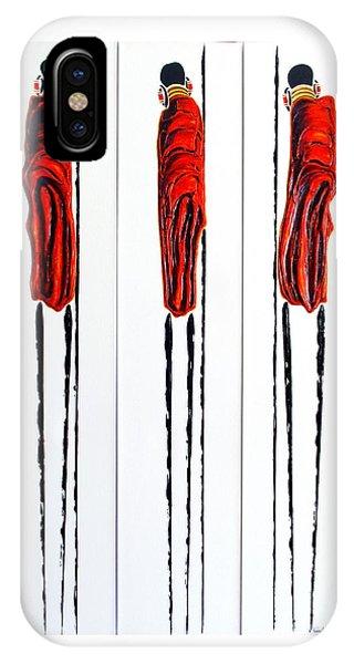 Masai Warrior Triptych - Original Artwork IPhone Case
