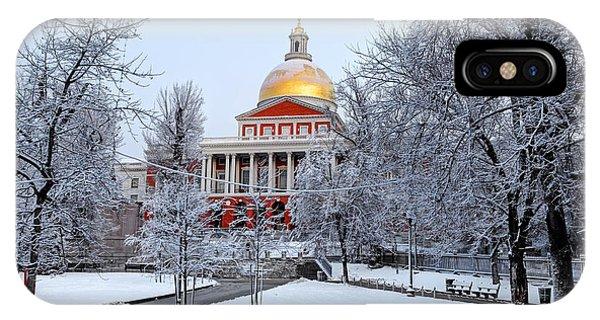 Massachusetts State House In Winter Phone Case by Denis Tangney Jr