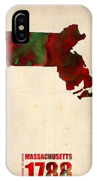Massachusetts iPhone Case - Massachusetts Watercolor Map by Naxart Studio