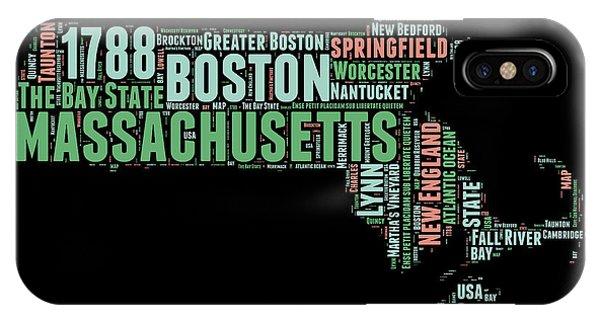 Massachusetts iPhone Case - Massachusetts Word Cloud Map 1 by Naxart Studio