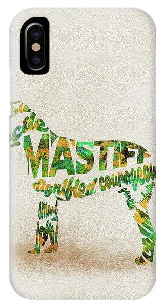 Mastiff iPhone Case - Mastiff Dog Watercolor Painting / Typographic Art by Inspirowl Design