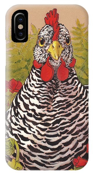 Chicken iPhone Case - Matilda In The Geraniums by Tracie Thompson