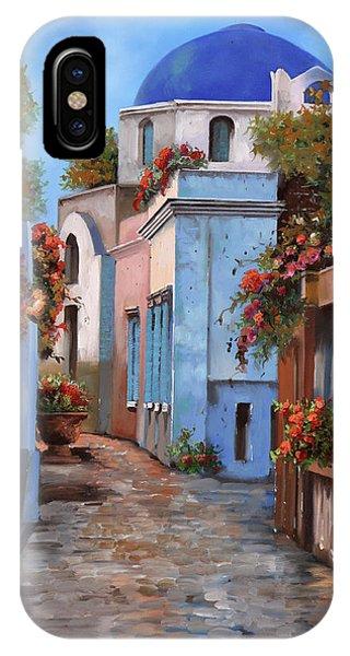 Blue And White iPhone Case - Mattina In Grecia by Guido Borelli
