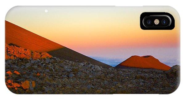 Mauna Kea Sunset With Full Moon Volcanoes National Park Hawaii IPhone Case