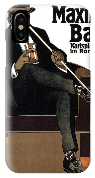 Bar iPhone Case - Maxim Bar - Karlsplatz - Vintage Drinks Advertising Poster By Hans Rudi Ertz - Germany by Studio Grafiikka