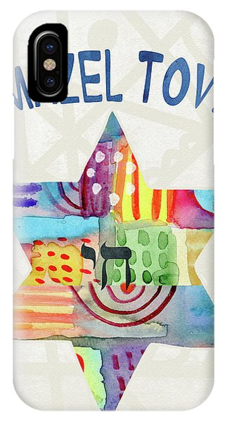 Bat iPhone Case - Mazel Tov Colorful Star- Art By Linda Woods by Linda Woods