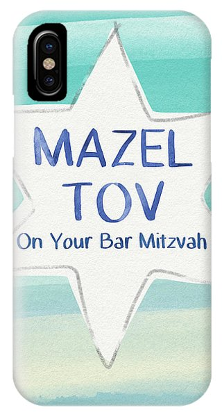 Bar Mitzvah iPhone Case - Mazel Tov On Your Bar Mitzvah-  Art By Linda Woods by Linda Woods