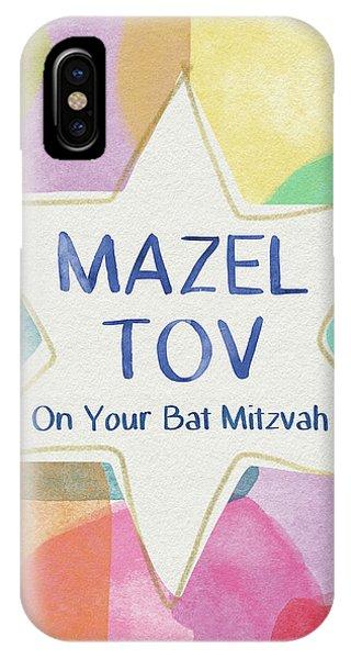 Bat iPhone Case - Mazel Tov On Your Bat Mitzvah- Art By Linda Woods by Linda Woods