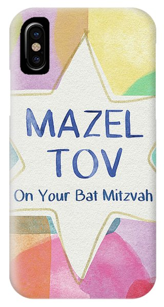 Bat iPhone Case - Mazel Tov On Your Bat Mitzvah- Art By Linda Woods by Linda Woods