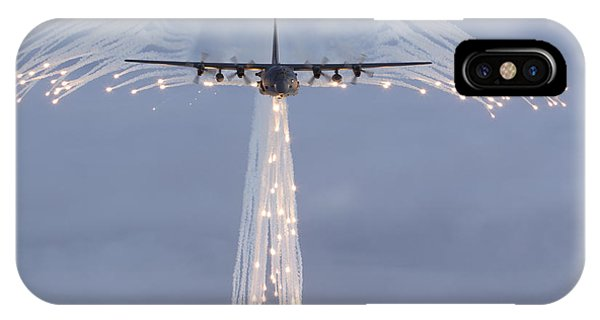 Mc-130h Combat Talon Dropping Flares IPhone Case