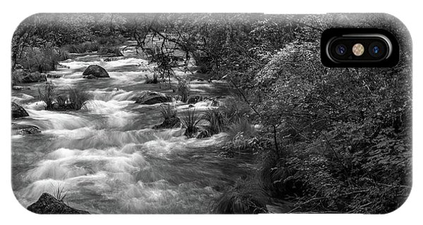 iPhone Case - Mcarthur-burney Falls Creek Black And White by Bill Gallagher