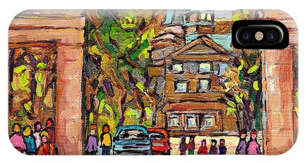 Mcgill Gates  Entrance Of Mcgill University Montreal Quebec Original Oil Painting Carole Spandau IPhone Case