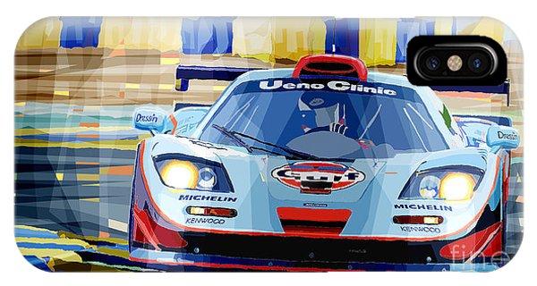 Automotive iPhone Case - Mclaren Bmw F1 Gtr Gulf Team Davidoff Le Mans 1997 by Yuriy Shevchuk