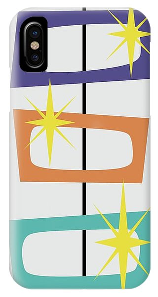 IPhone Case featuring the digital art Mcm Shapes 3 In Purple Aqua And Orange by Donna Mibus