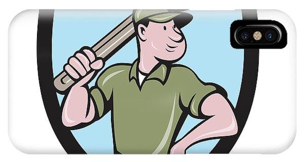 Mechanic Wielding Spanner Crest Cartoon IPhone Case