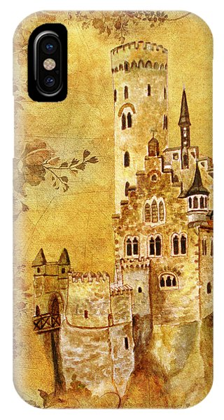 IPhone Case featuring the painting Medieval Golden Castle by Angeles M Pomata