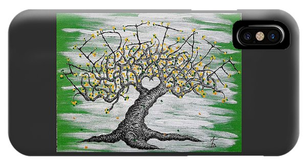 IPhone Case featuring the drawing Meditate Love Tree by Aaron Bombalicki