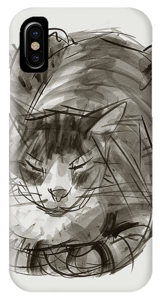 IPhone Case featuring the painting Meditating Cat by Judith Kunzle