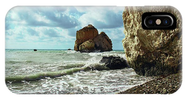 Mediterranean Sea, Pebbles, Large Stones, Sea Foam - The Legendary Birthplace Of Aphrodite IPhone Case