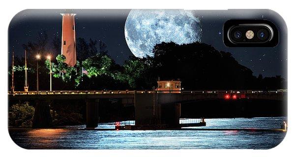 Mega Super Moon Rising Over Jupiter Lighthouse IPhone Case