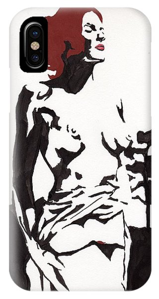 IPhone Case featuring the drawing Megan - Sunlight by Stephen Panoushek
