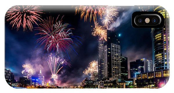 IPhone Case featuring the photograph Melbourne Fireworks by Ray Warren