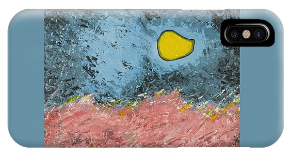 IPhone Case featuring the painting Melting Moon Over Drifting Sand Dunes by Ben Gertsberg