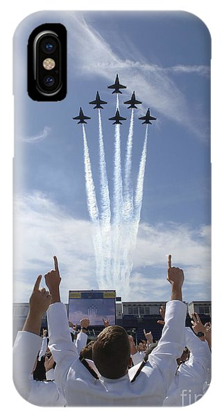 Airplanes iPhone Case - Members Of The U.s. Naval Academy Cheer by Stocktrek Images