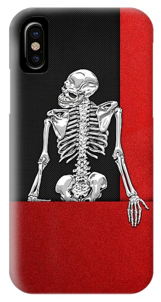 Pop Art iPhone Case - Memento Mori - Skeleton On Red And Black  by Serge Averbukh