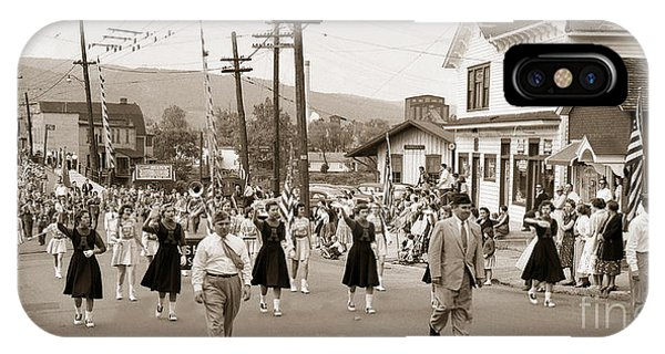 Memorial Day Parade Ashley Pa With Train Station And The Huber Colliery In Background 1955 IPhone Case