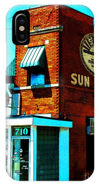 Johnny Cash iPhone Case - Memphis Sun Studio Birthplace Of Rock And Roll 20160215sketch by Wingsdomain Art and Photography