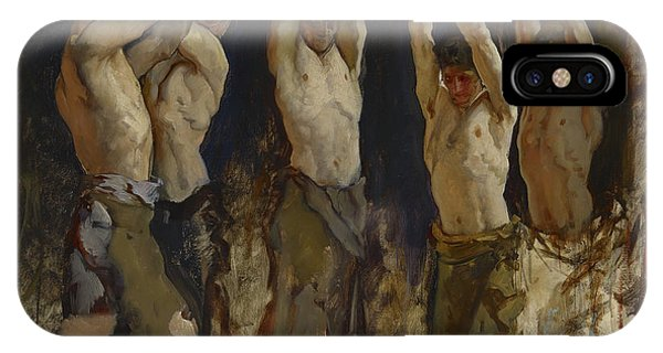 Anvil iPhone Case - Men At An Anvil, Study For The Spirit Of Vulcan by Edwin Austin Abbey