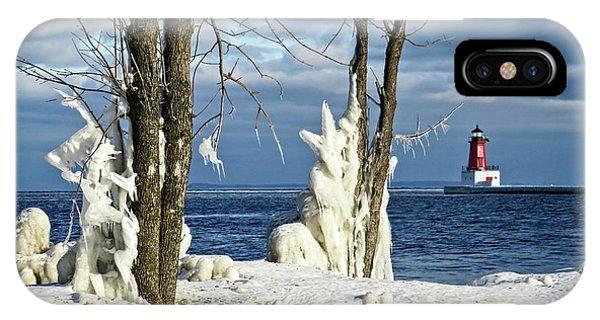 Menominee Lighthouse Ice Sculptures IPhone Case
