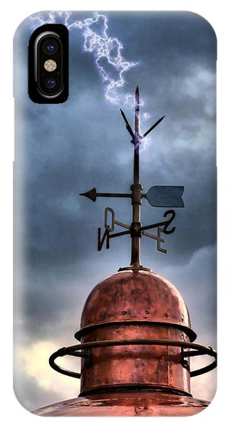 Menorca Copper Lighthouse Dome With Lightning Rod Under A Bluish And Stormy Sky And Lightning Effect IPhone Case