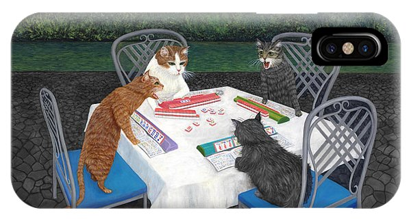 IPhone Case featuring the painting Meowjongg - Cats Playing Mahjongg by Karen Zuk Rosenblatt