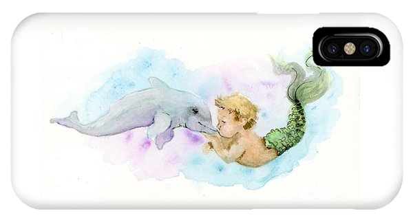 IPhone Case featuring the painting Merboy Kiss by Lauren Heller