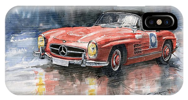Red iPhone Case - Mercedes Benz 300sl by Yuriy Shevchuk