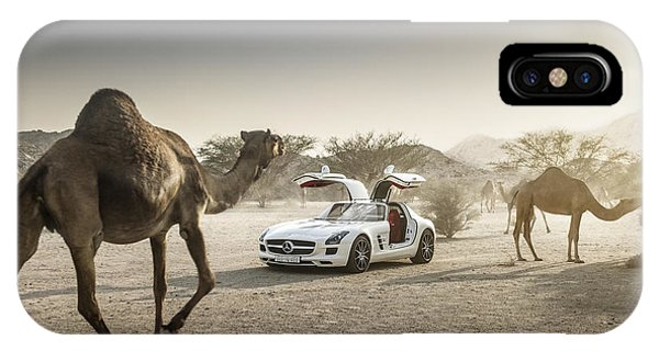 Mercedes Benz Sls With Camels In Saudi IPhone Case