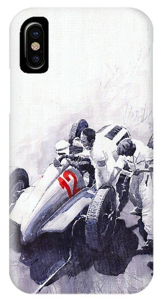 Automotive iPhone Case - Mercedes Benz W125 Rudolf Caracciola The German Grand Prix Nurburgring 1937  by Yuriy Shevchuk