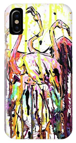 IPhone Case featuring the painting Merging. Flamingos by Zaira Dzhaubaeva